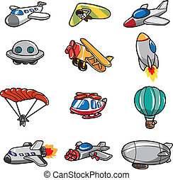 vliegtuig, spotprent, pictogram