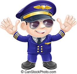 vliegtuig, spotprent, piloot