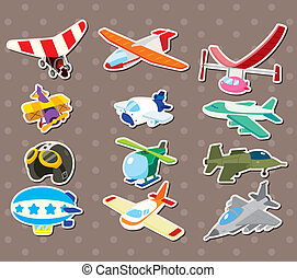 vliegtuig, stickers, spotprent
