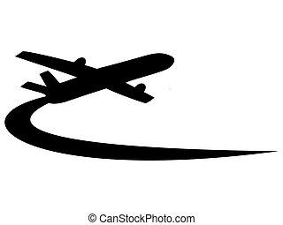 vliegtuig, symbool, ontwerp
