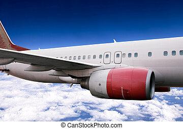 vliegtuig, tijdens de vlucht