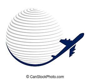 vliegtuig, vector, globe, pictogram