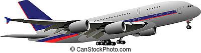vliegtuig., vector, illustratie