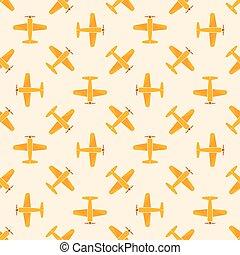 vliegtuig, vector, patten, gele, seamless