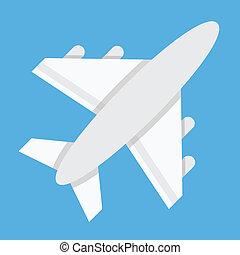 vliegtuig, vector, pictogram
