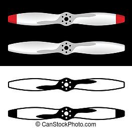 vliegtuig, vector, propellers