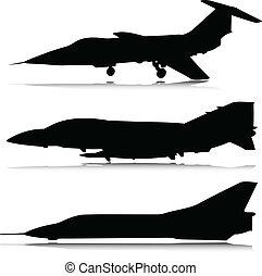 vliegtuig, vector, silhouettes, gevecht