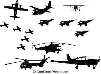 vliegtuig, vector, -, verzameling