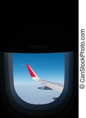 vliegtuig, venster., aanzicht