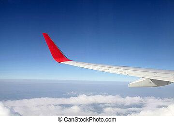 vliegtuig, vleugel, fooi