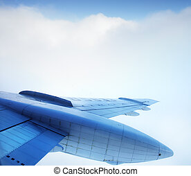 vliegtuig vleugel, in, de, hemel