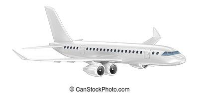 vliegtuig, vrijstaand, op, white., mijn, eigen, ontwerp