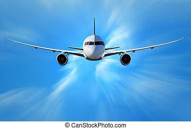 vliegtuig, wolken, boven
