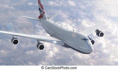 vliegtuig, wolken, op