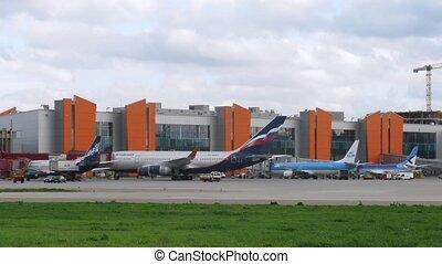 vliegtuigen, aeroflot, en, klm, stander, op, sheremetyevo, luchthaven