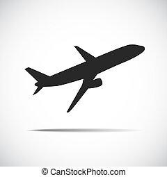 vliegtuigen, passagier, black , silhouette, pictogram