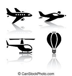 vliegtuigen, set, -, vervoeren, iconen