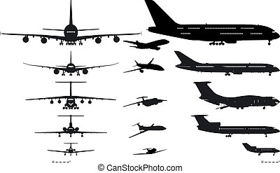 vliegtuigen, silhouettes, set