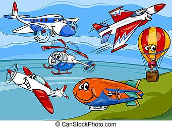 vliegtuigen, vliegtuig, groep, spotprent, illustratie
