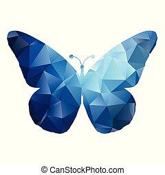 vlinder, 0105, ontwerp, laag, poly