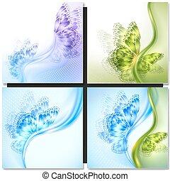 vlinder, abstract, groene achtergrond, golf