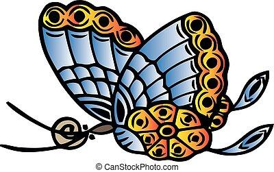 vlinder, abstract, vrijstaand, illustratie, vector, achtergronden, witte