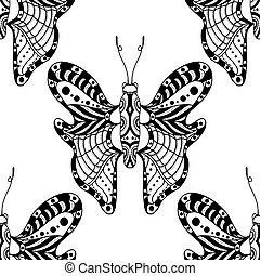 vlinder, achtergrond, witte