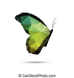 vlinder, achtergronden, vrijstaand, witte