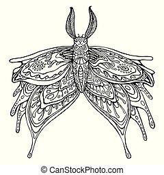 vlinder, adults., kleuren, kinderen, pagina