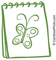 vlinder, beeld, aantekenboekje