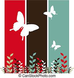 vlinder, bladeren, achtergrond