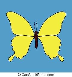 vlinder, blauwe achtergrond, vrijstaand, gele