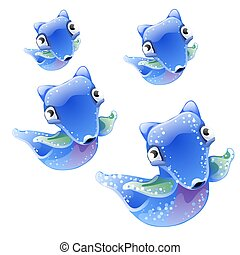 vlinder, blauwe , clione., dieren, illustration., achtergrond., kleur, engel, vrijstaand, vector, fantasie, set, algemeen, zee, witte , of