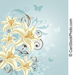 vlinder, bloemen, achtergrond