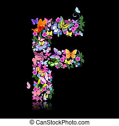 vlinder, bloemen, brief