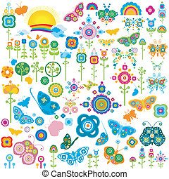 vlinder, bloemen, communie, retro