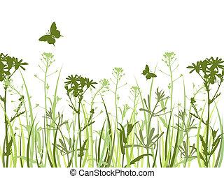 vlinder, bloemen, groene achtergrond