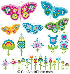 vlinder, bloemen