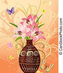 vlinder, bloemen, vaas