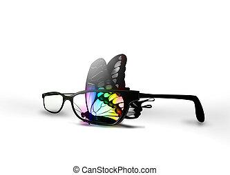 vlinder, brillen