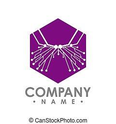vlinder, butterfly., eenvoudig, abstract, vrijstaand, achtergrond., vector, plank, circuit, witte , zeshoek, pictogram