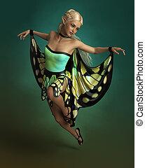 vlinder, cg, dancing, 3d
