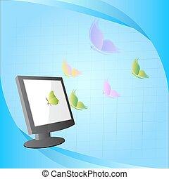 vlinder, concept, vliegen, computer, ontwerp, uit
