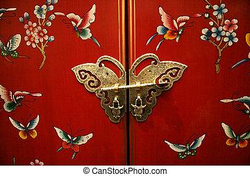 vlinder, deur, op, chinese-style, meubel