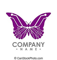 vlinder, eenvoudig, abstract, vrijstaand, achtergrond., vector, plank, circuit, witte , butterfly., pictogram