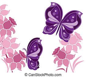 vlinder, en, bloemen, 2
