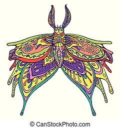 vlinder, fantasie, page., kleur, regenboog