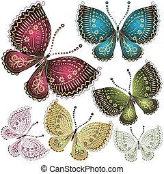 vlinder, fantasie, set, ouderwetse