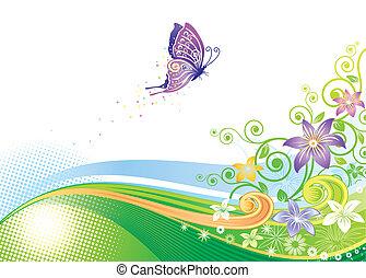 vlinder, floral ontwerpen