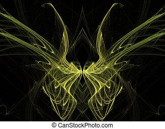 vlinder, fractal, vleugels, gele